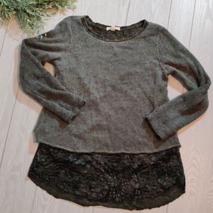 Olive green Belle France layered sweater